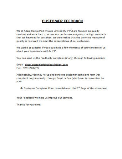 sample customer feedback example