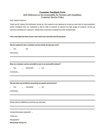 14 Customer Feedback Form Templates In Pdf Doc Free