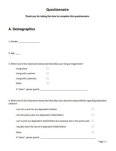 sample demographic questionnaire template