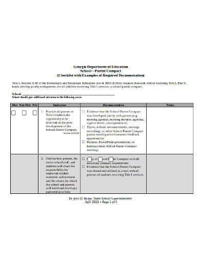 sample department school checklist