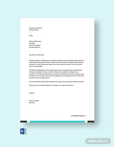 sample donation acknowledgement letter template
