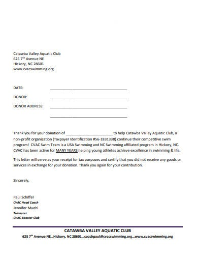 sample donation thank you letter template