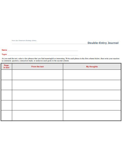 sample double entry journal template