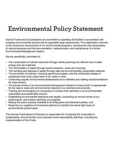 20  environmental policy statement templates in pdf
