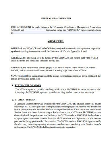 6 graduate internship agreement templates in pdf doc. Black Bedroom Furniture Sets. Home Design Ideas