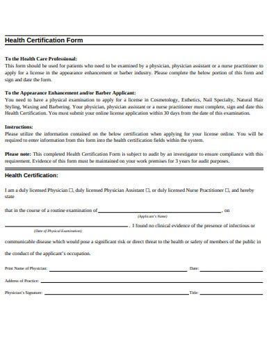 sample health certificate form template