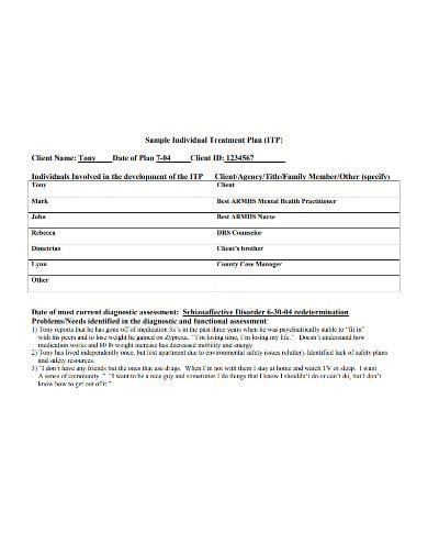 sample individual health treatment plan