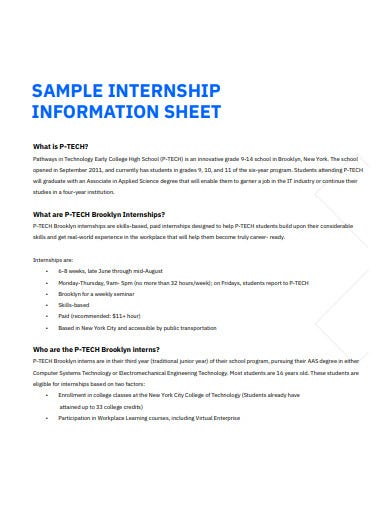 sample intern information sheet