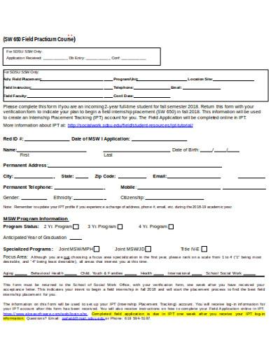 sample internship tracking sheet