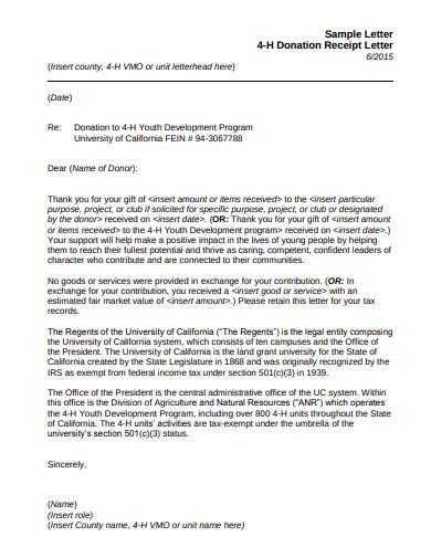 sample letter 4 h donation receipt letter