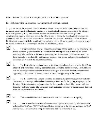 sample liability insurance checklist in pdf