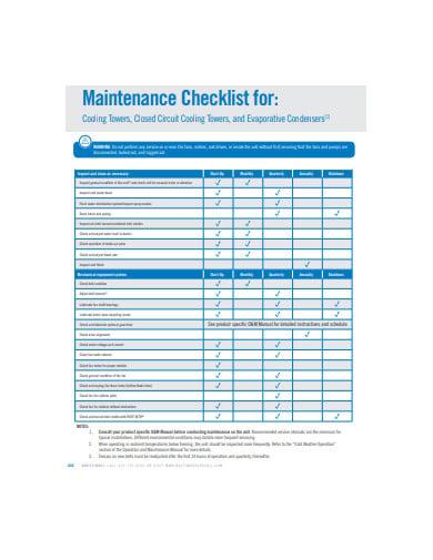 sample maintenance checklist in pdf