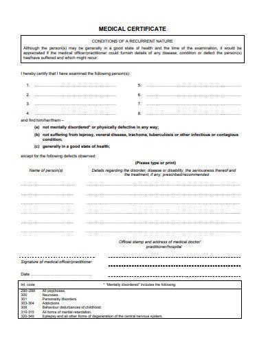 sample medical certificate form in pdf