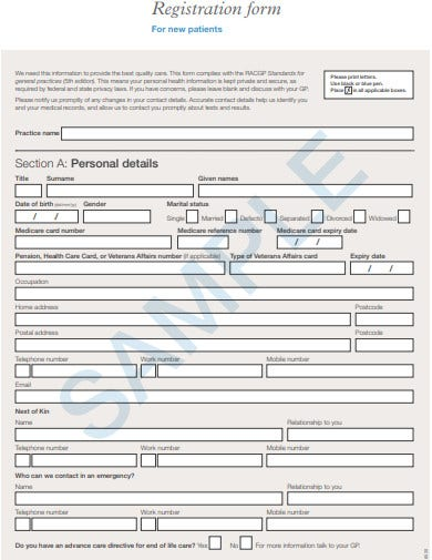 sample new patient registration form