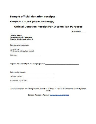 sample official donation receipt