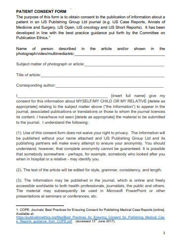 sample patient consent form template