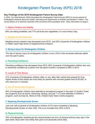 sample pre school parent survey