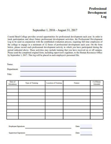 sample professional development log template