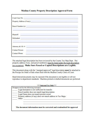 sample property description approval form