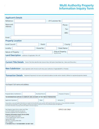 sample property information inquiry form template