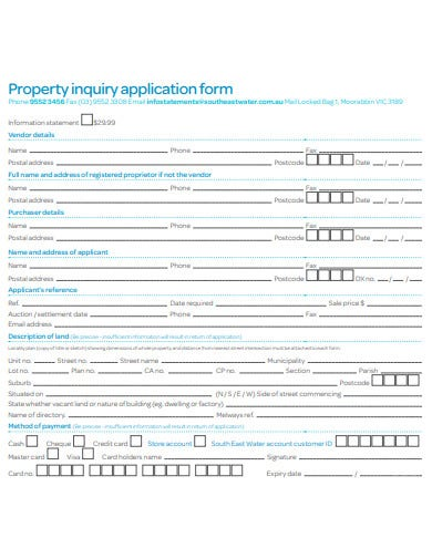 sample property inquiry application form template