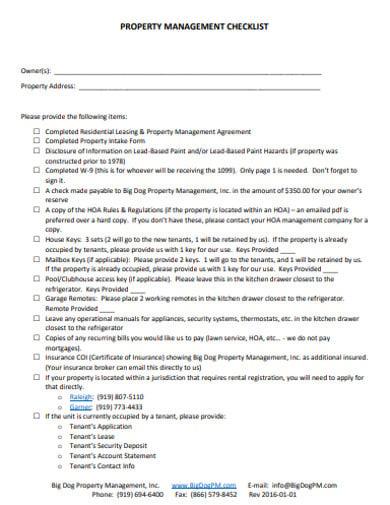 sample property management checklist