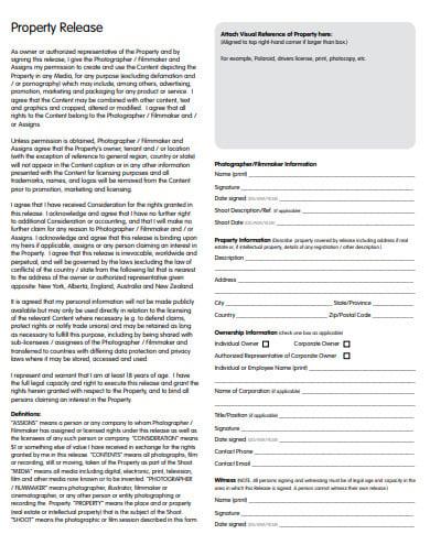 sample property release form