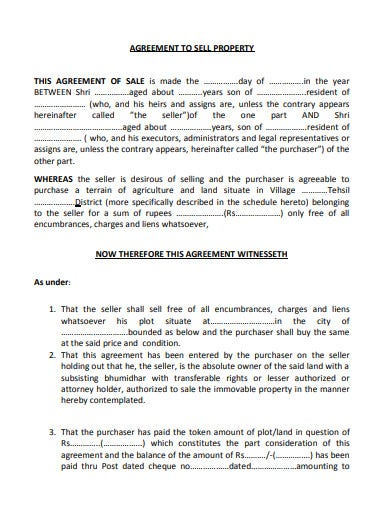 sample property sale agreement