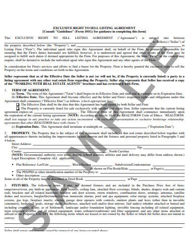 sample real estate listing form template