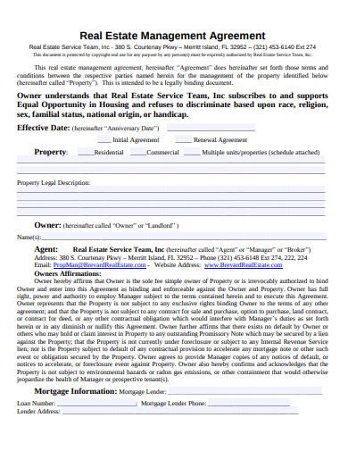 sample real estate management agreement