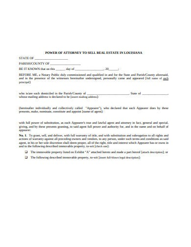 sample real estate power of attorney format