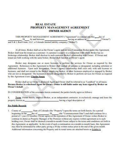 sample real estate property management agreement