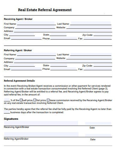 sample real estate referral agreement template