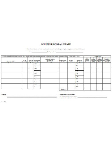 sample real estates schedule template