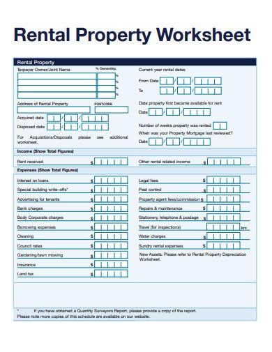 sample rental property worksheet template