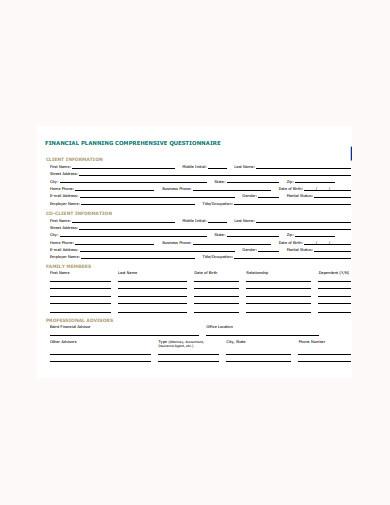 sample retirement planning questionnaire
