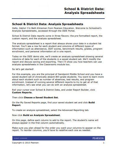 sample school data analysis template