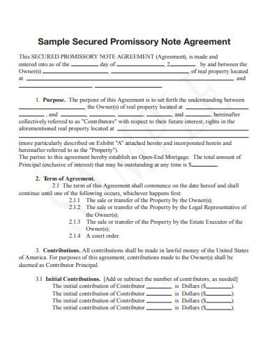 sample secured promissory note agreement template
