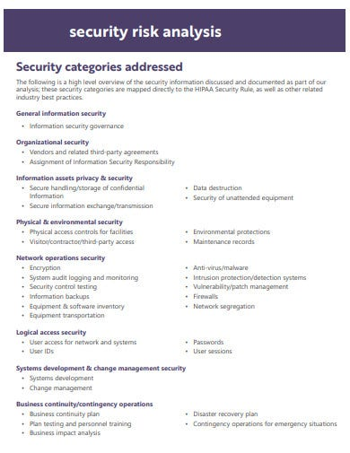 sample security risk analysis template