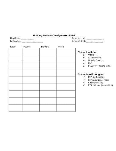 sample student assignment sheet