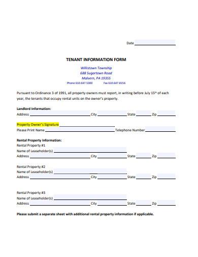 sample tenant information form