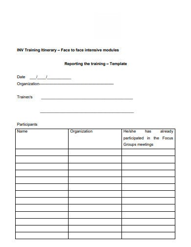 sample training itinernary template