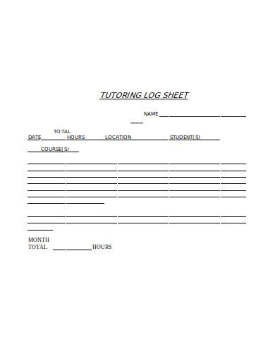 sample tutoring log sheet template