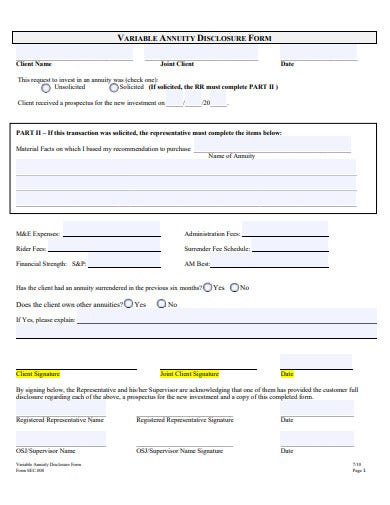 sample variable annuity disclosure form