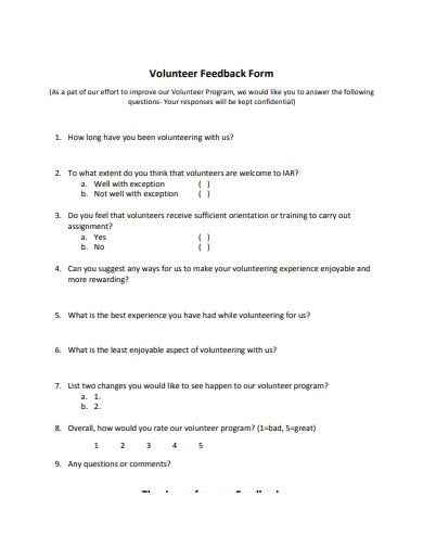 sample volunteer feedback form