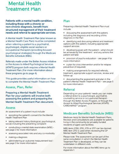 sample mental health treatment plan