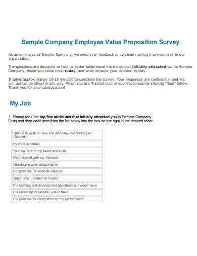 sample of employee value proposition survey