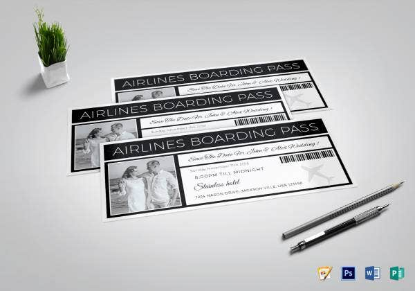 save the date boarding pass ticket template1