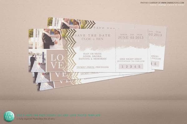 save the date love ticket