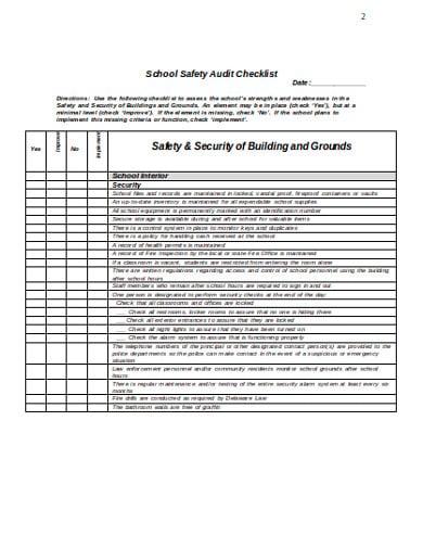 school audit checklist